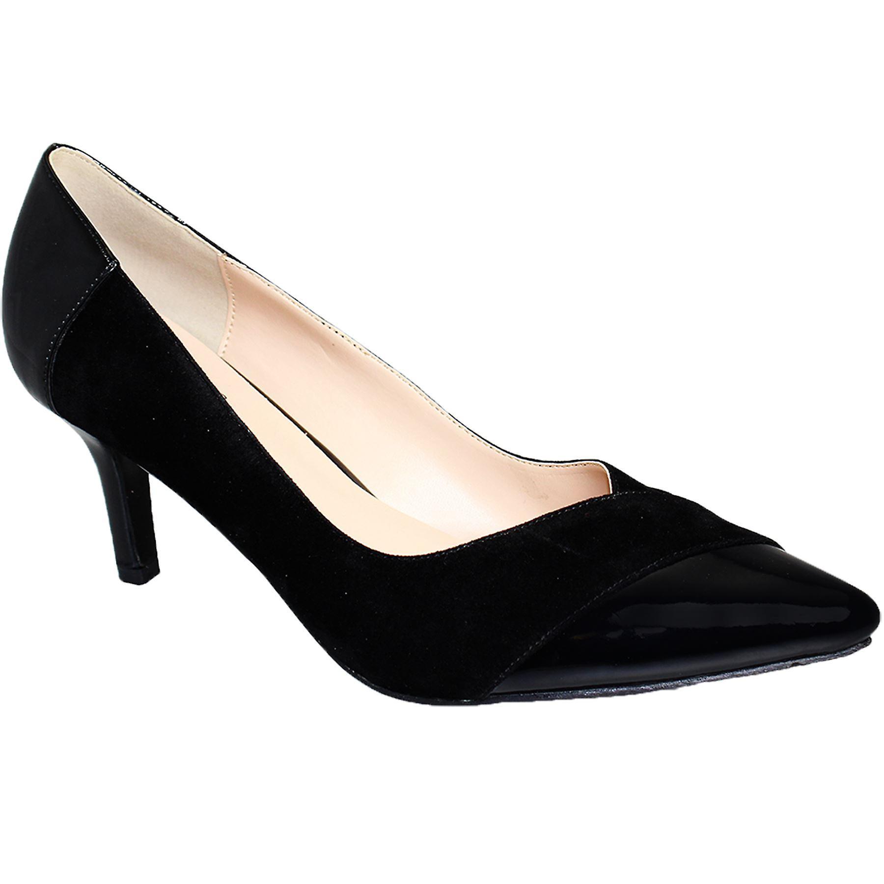 Hyvät huomautti Toe matala kantapää patentti kontrasti naisten Mokka Smart kengät korkokengät