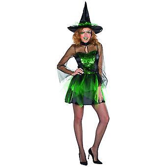 Glitter noita puku vihreä paljetti mekko hyvät Halloween noita