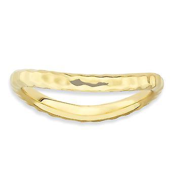 2.25mm 925 Sterling Silver Stackable Expressions Gepolijst 14k Gold PlatedWave Ring Sieraden Geschenken voor vrouwen - Ring Size: