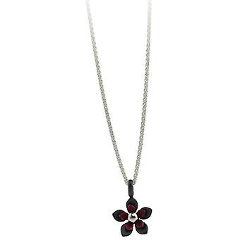 Ti2 Titanium Black Back Five Petal Flower Pendant - Coffee Brown