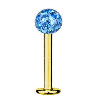 Labret Bar Piercing Gold Plated Titanium 1,2 mm, Multi Crystal Ball Light Blue | 5-12 mm