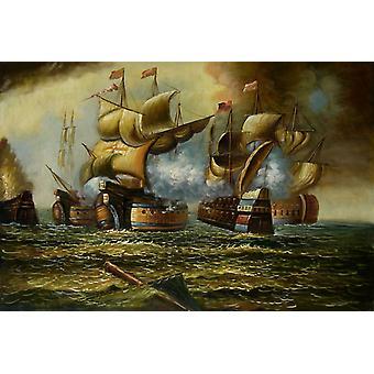 Segel, handbemaltölende Ölgemälde auf Leinwand, 90x60 cm