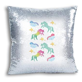 i-Tronixs - Unicorn Printed Design Silver Sequin Cushion / Pillow Cover with Inserted Pillow for Home Decor - 7