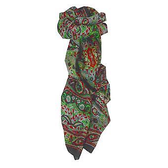 Mulberry soie longue écharpe traditionnelle Diya Black de Pashmina & soie