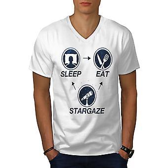 Astronomie Science mannen WhiteV-hals T-shirt | Wellcoda