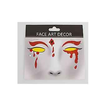 Make-up en wimpers gezicht sticker Halloween