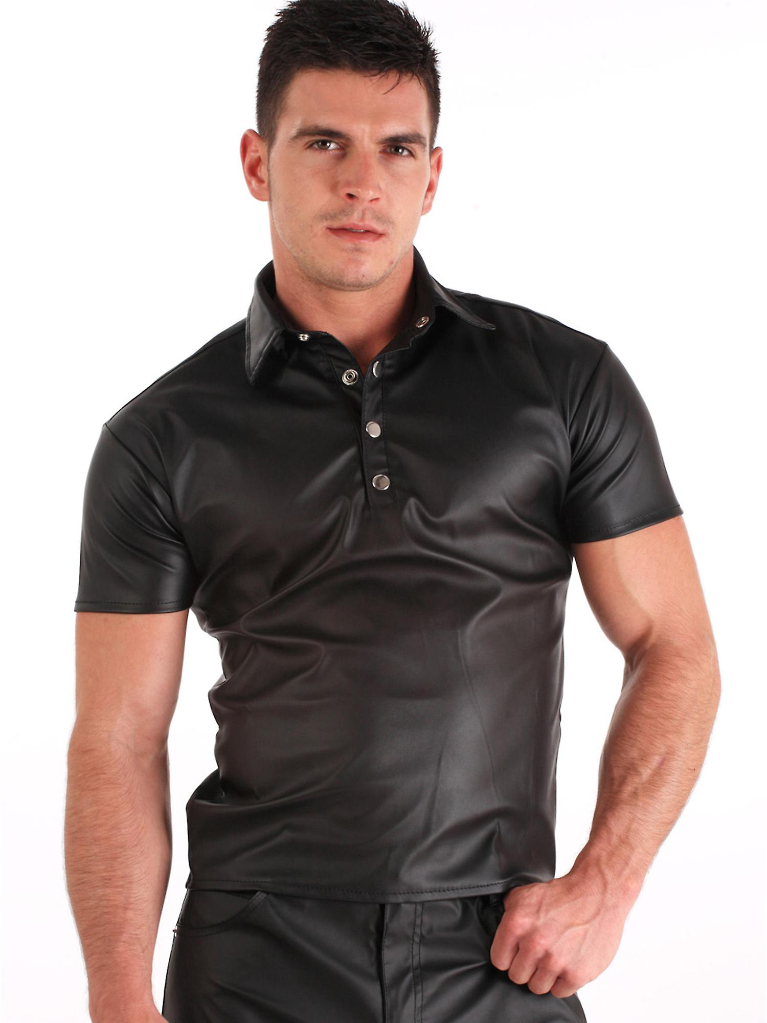Honour Men's Tight Polo Top Shirt in Black PVC Leather Look Shortsleeves