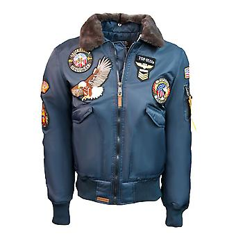Top Gun MA-1 American Original Bomber Jacket With Patches Navy