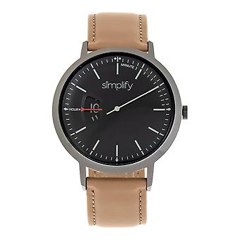 Simplify The 6500 Leather-Band Watch - Beige/Black