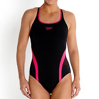 Sunga Speedofit Pinnacle Womens natação maiô traje preto/rosa