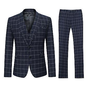 Allthemen Men's Two-Button Slim Black Plaid Fashion 3-Piece Suit
