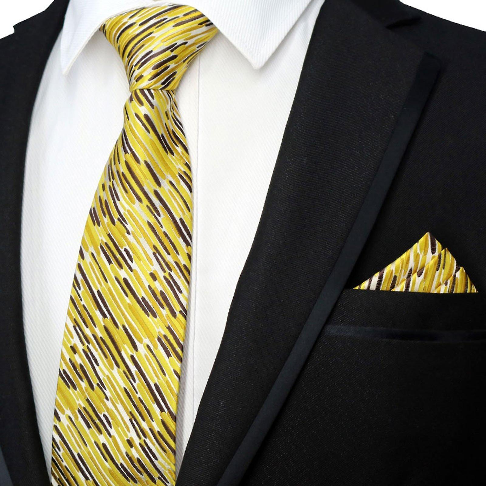 c0451930c5a8a Yellow & brown animal print necktie & pocket square set | Fruugo