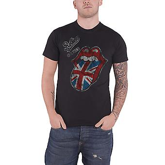 The Rolling Stones T Shirt Vintage British Tongue Logo Official Mens New Black