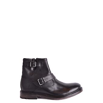 Basis Londen Ezbc207001 Heren's Black Leather Ankle Boots