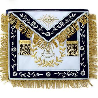 Masonic Blue Lodge Past Master Apron With Wreath Bullion Hand Embroidered-Satin