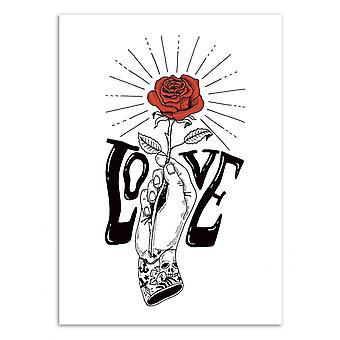 Art-Poster-hand met een roze-Sarah Matuszewski 50 x 70 cm