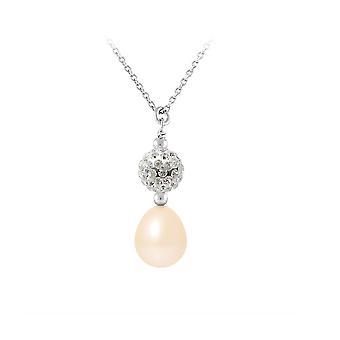 Collier Pendentif Perle de culture Rose, cristal et Argent 925 4070