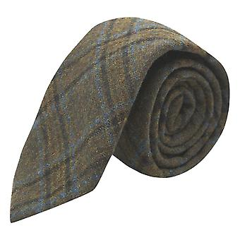 Olive Green & Brown Check tie, Tweed, Tartan, ruudullinen