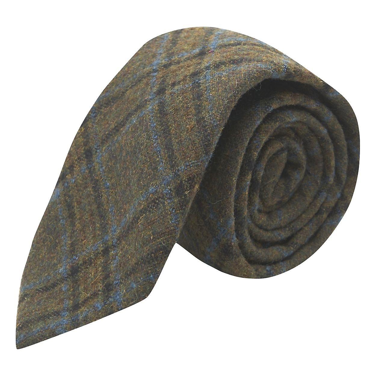Olive Green & Brown Check Tie, Tweed, Tartan, Plaid
