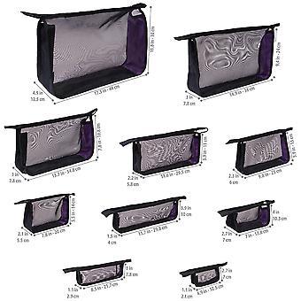 SHANY schwarz Mesh Reiseveranstalter Tasche Set - zehn See-Thru Reißverschluss Kosmetik und Toilettentaschen in Verschiedenengrößen - Set von 10