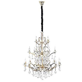 Diyas Zinta Pendant 3 Tier 22 Light French Gold/Crystal (ITEM REQUIRES ASSEMBLY)