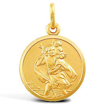Jewelco London Solid 9ct Yellow Gold Matte St Christopher Medallion Pendant