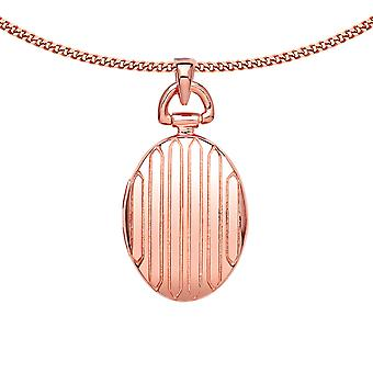 Jewelco London Ladies Rose Gold-Plated Sterling Silver Vertical Column Oval Locket Necklace