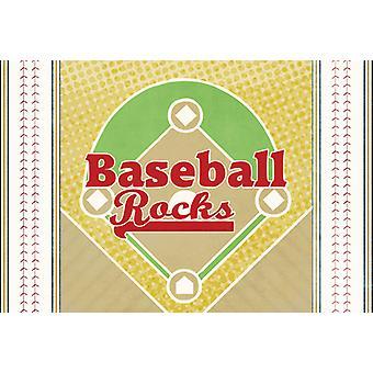 Carolines Treasures  SB3077PLMT Baseball Rules Fabric Placemat