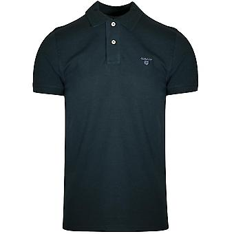 GANT Wald grün Melange Kontrast Polo Shirt