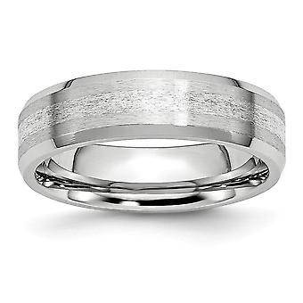 Kobalt Chrom 925 Sterling Silber poliert gravierbare abgeschrägte Kante Inlay Satin polnischen 6mm Band Ring Schmuck Geschenke für