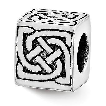 925 Sterling Silver Polished finish Reflections Irish Claddagh Celtic Trinity Knotblock Bloco Pingente Pingente de Encanto