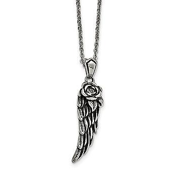 Edelstahl und poliert mit Kristall Flügel Halskette 18 Zoll Schmuck Geschenke für Frauen