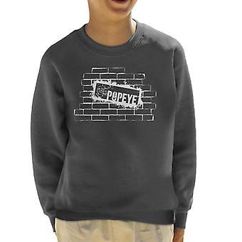Popeye Brick Wall Poster Kid's Sweatshirt