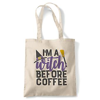 I'm A Witch Before Coffee Tote | Halloween Fancy Dress Costume Trick Or Treat | Reusable Shopping Cotton Canvas Long Handled Natural Shopper Eco-Friendly Fashion