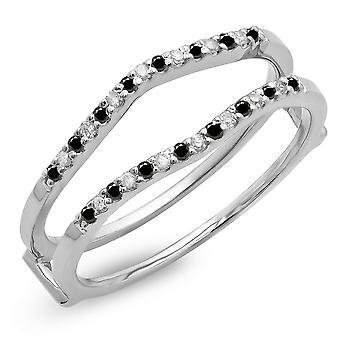 Dazzlingrock Collection 0,18 Carat (ctw) 10K svart & hvit diamant bryllup Enhancer vakt dobbelt ring, hvitt gull