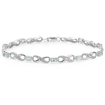 Dazzlingrock Collection Oval Blue Topaz & Round Diamond Ladies Infinity Link Tennis Bracelet, Sterling Silver