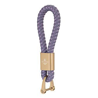Skipper hänge nyckelring läder/nylon lila/guld 8253