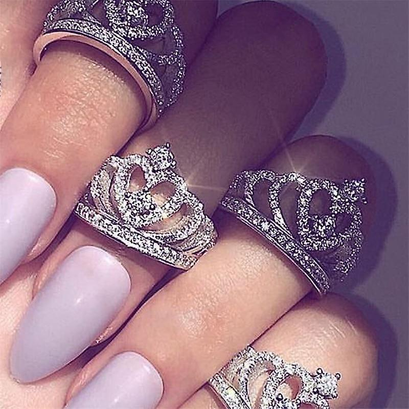 Fashion silver rings crystal women's crown zircon heart rings for engagement party jewelry