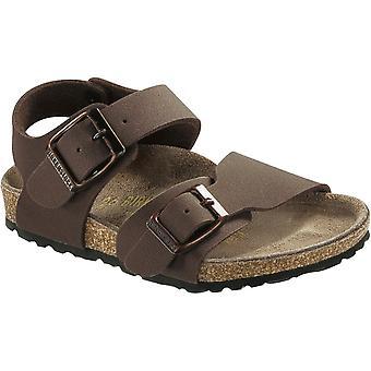 Birkenstock Kids New York Mocca 087783, nubuck Birko-Flor sandal med to justerbare spenne