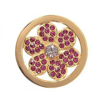 Nikki Lissoni Pink Flower Small Gold Plated Coin C1074GS