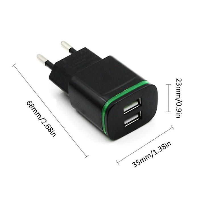 AIXXCO Dual USB Wall Charger Wallcharger AC Home Charger Plug Charger Adapter 5V - 2A Black