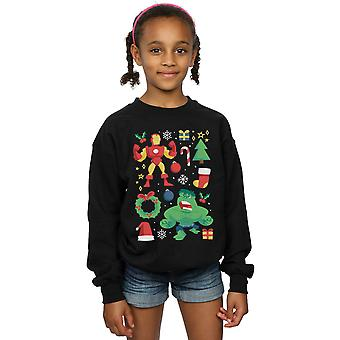 Marvel Girls Iron Man And Hulk Christmas Day Sweatshirt