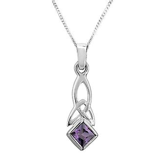 "Celtic Holy Trinity Knot Necklace Pendant - Amethyst Colour Stone - Includes 16"" Chain"