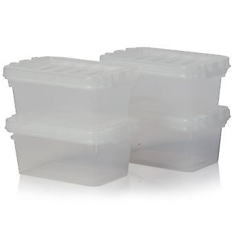 Wham Storage Set Of 4 - 500ml Crystal Small Plastic Storage Boxes With Lids