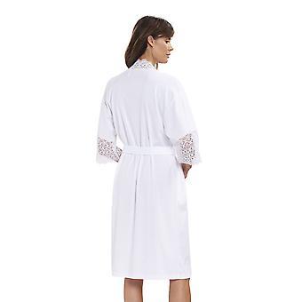 Rösch 1193125-11710 Women's New Romance White Cotton Lace Robe