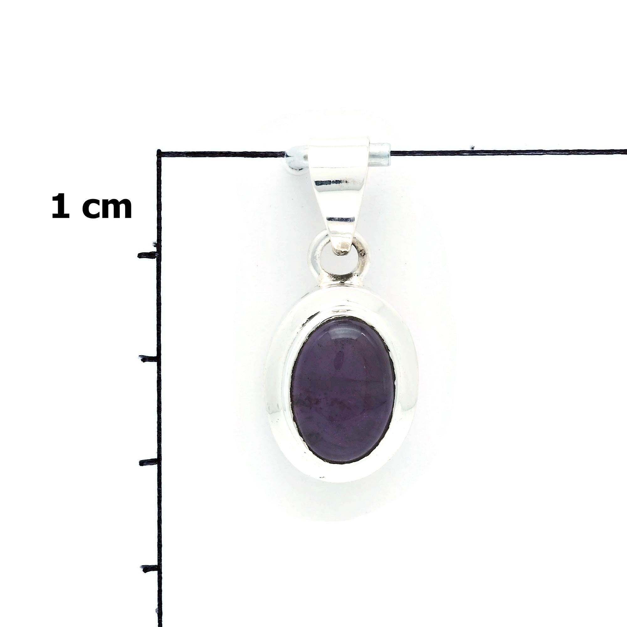 Kettenanhänger Amulett Silber 925 Sterlingsilber Amethyst lila Stein  (Nr: MAH 146-01)