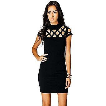 Vincenza dames hete mode bodycon gekooide laser gesneden mouwen mini party jurk