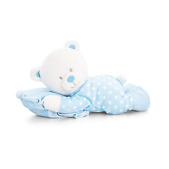 Keel Toys Baby 30cm Blue Bear On Pillow Plush Toy