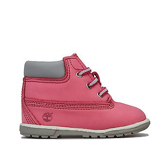 Baby Girls Timberland 6 Inch Crib Boots In Pink- Elasticated Sewn In Laces-