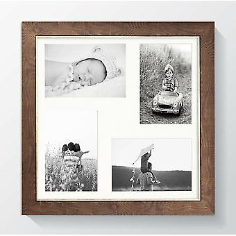 Somerset Multi Aperture Photo Picture Frame Square Brown White Wood Effect UK